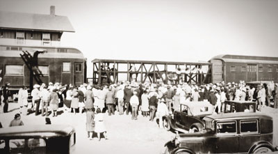 Photo of an Extension train, which was used a century ago to reach New Mexicans across the state and provide agricultural and home economics education.